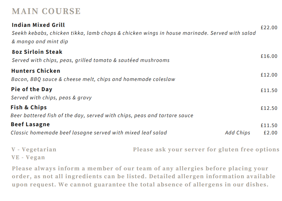 Main course menu for White Horse Buckover